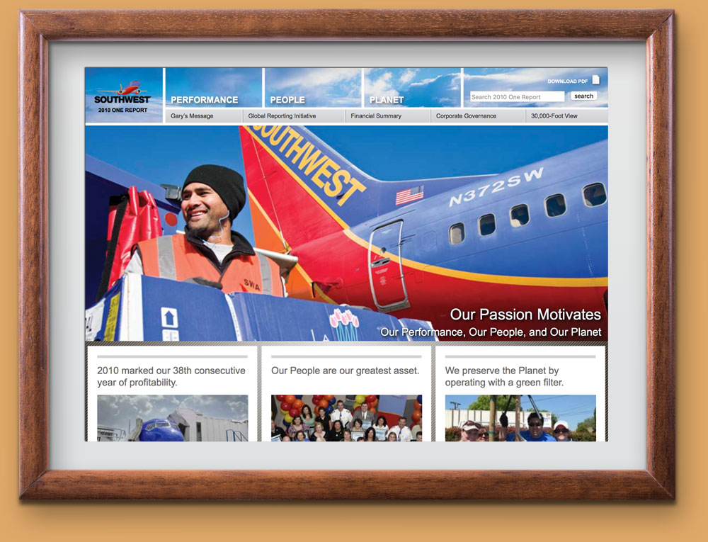 Screen shot of Southwest Airlines 2010 One Report, designed by Curran & Connors, and developed by Jonathan Russell